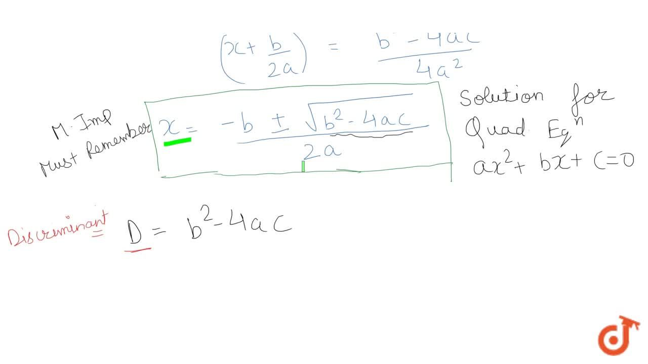 Solution for What is quadratic formulae to find the solution of