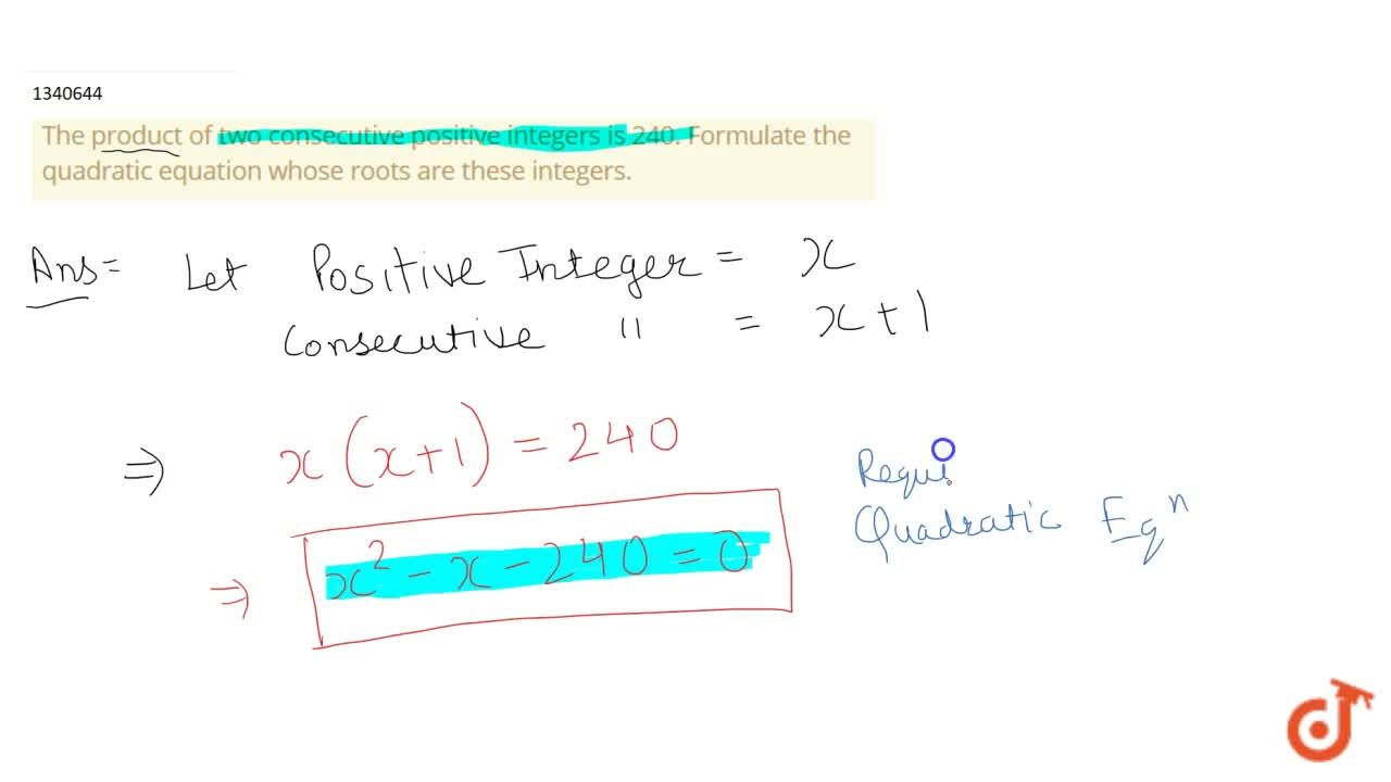 Solution for The product of two consecutive positive integers i
