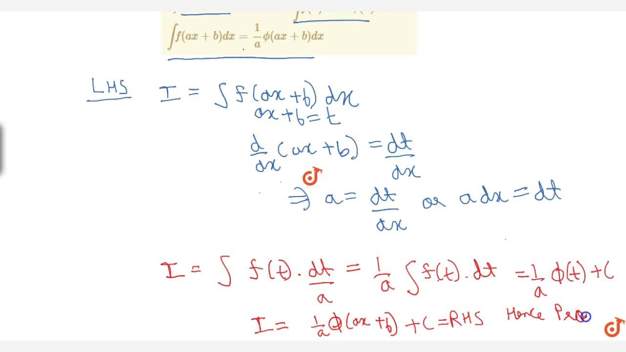 Solution for By substitution: Theorem: If int f(x) dx = phi(x)