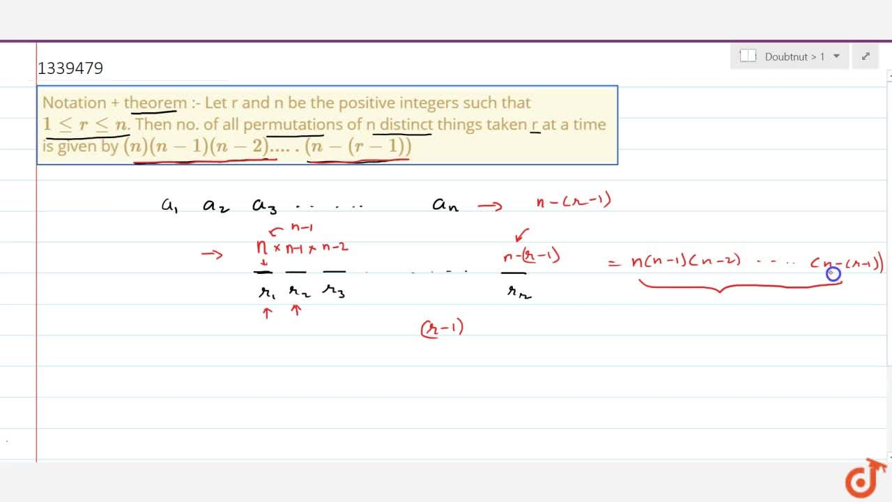 Solution for Notation + theorem :- Let r and n be the positive