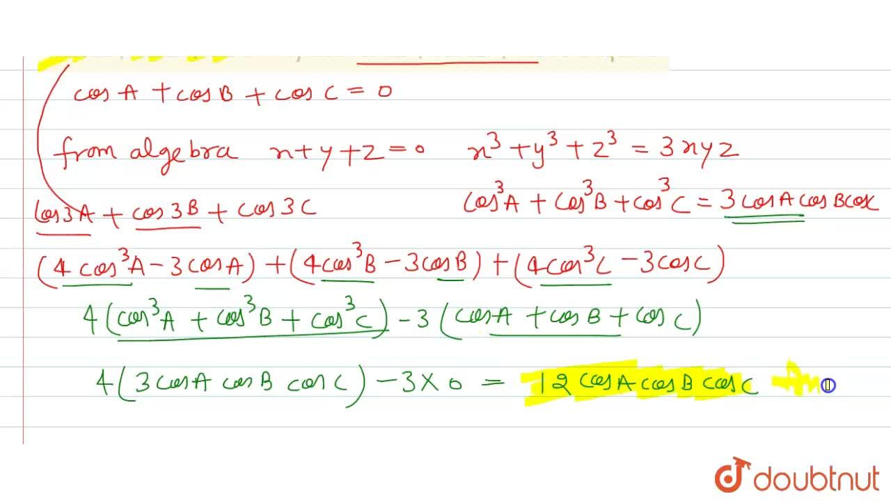 If  cosA+cosB+cosC=0, then cos3A+cos3B+cos3C is equal to
