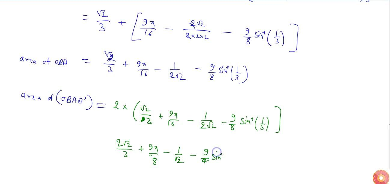 Using integration find the area of the region   bounded by the parabola y^2=4x\  and the   circle 4x^2+4y^2=9
