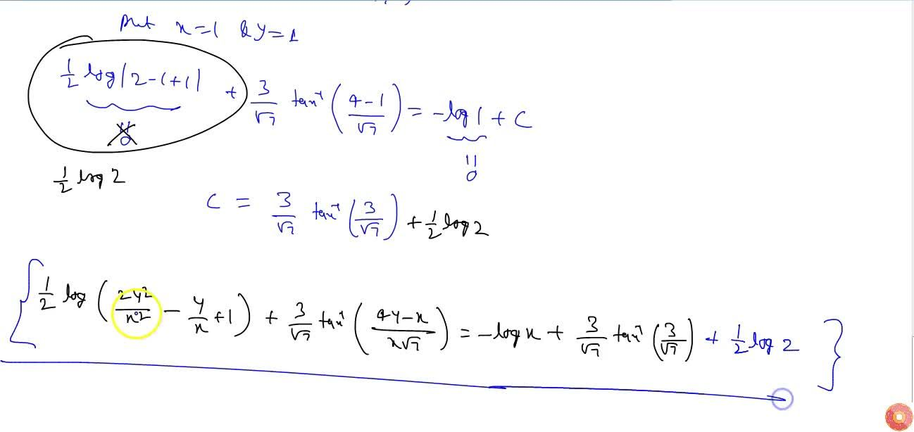 Solve the following differential equation: (dy),(dx)=(x\ (2y-x)),(x\ (2y+x)),\  if\ \ y=1\  when x=1