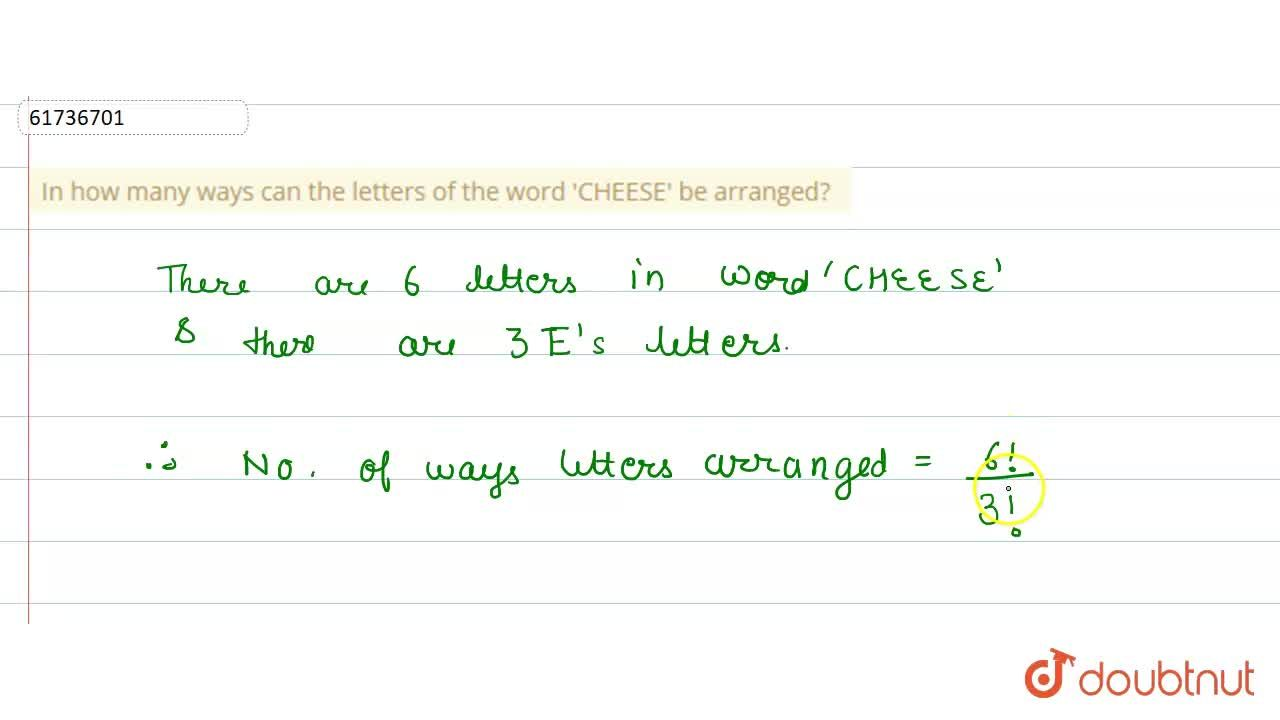 Solution for In how many ways can the letters of the word 'CHEE