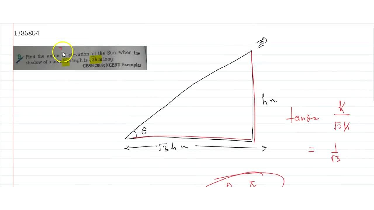 Solution for  Find the angle of elevation of the Sun when the s