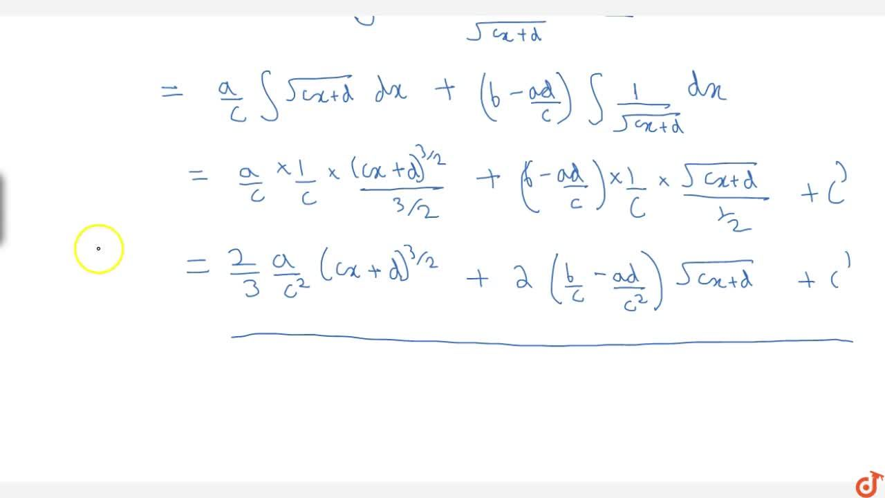 Solution for Integral of form (ax+b) sqrt(cx+d)dx or (ax+b)