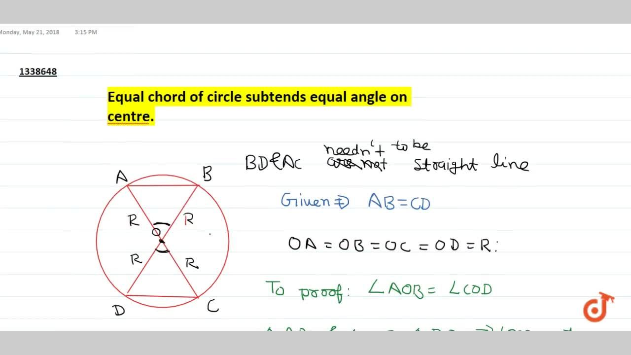 Solution for Equal chord of circle subtends equal angle on cent