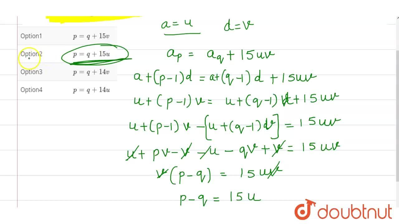 Solution for For an AP with first term u and common difference