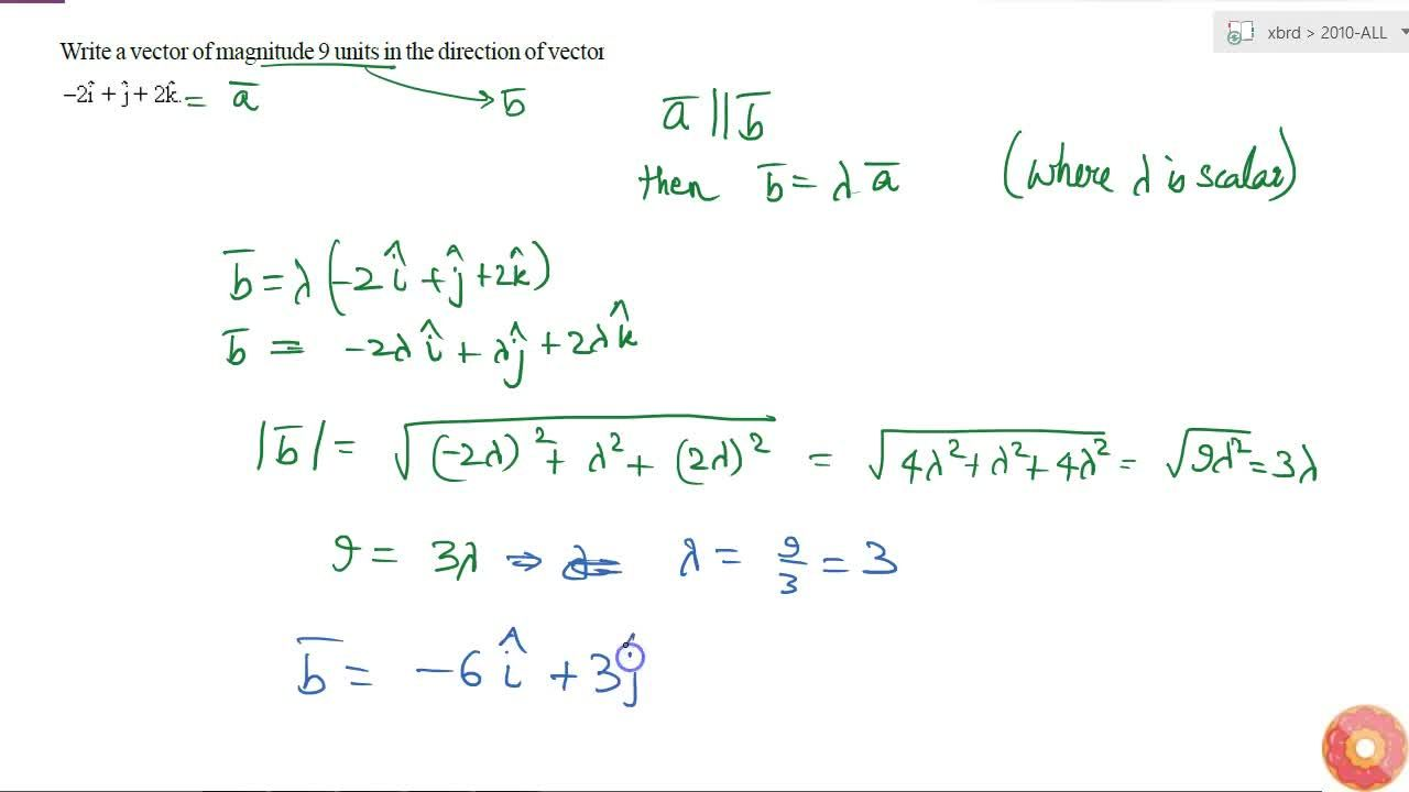 Write a vector of magnitude 9 units in the   direction of vector -2 hat i+ hat j+2 hat k