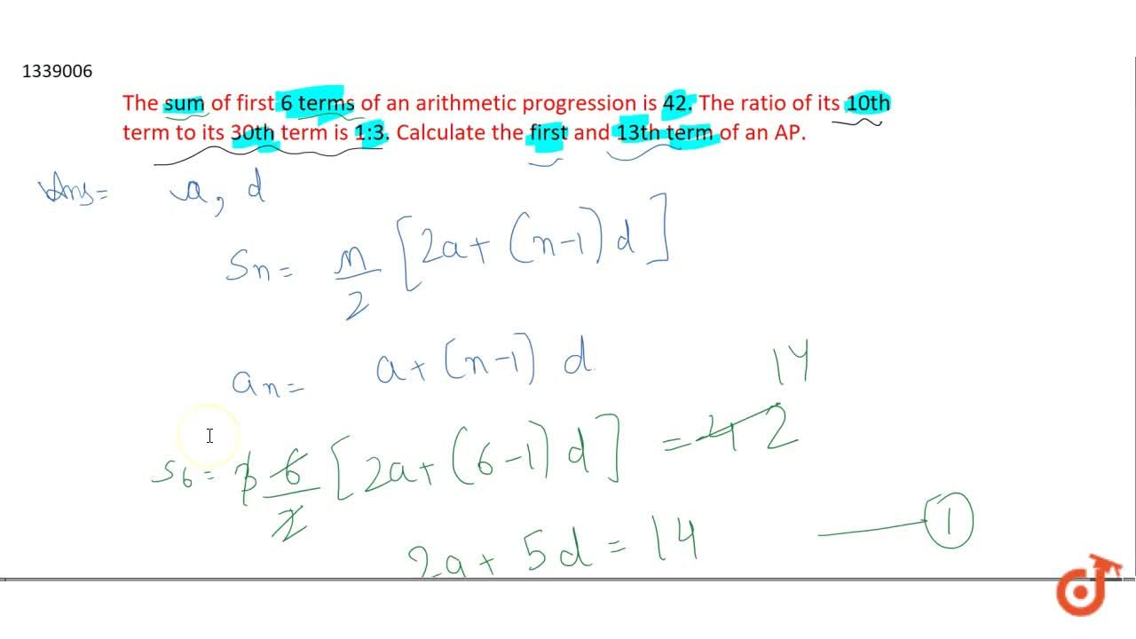 Solution for The sum of first 6 terms of an arithmetic progress
