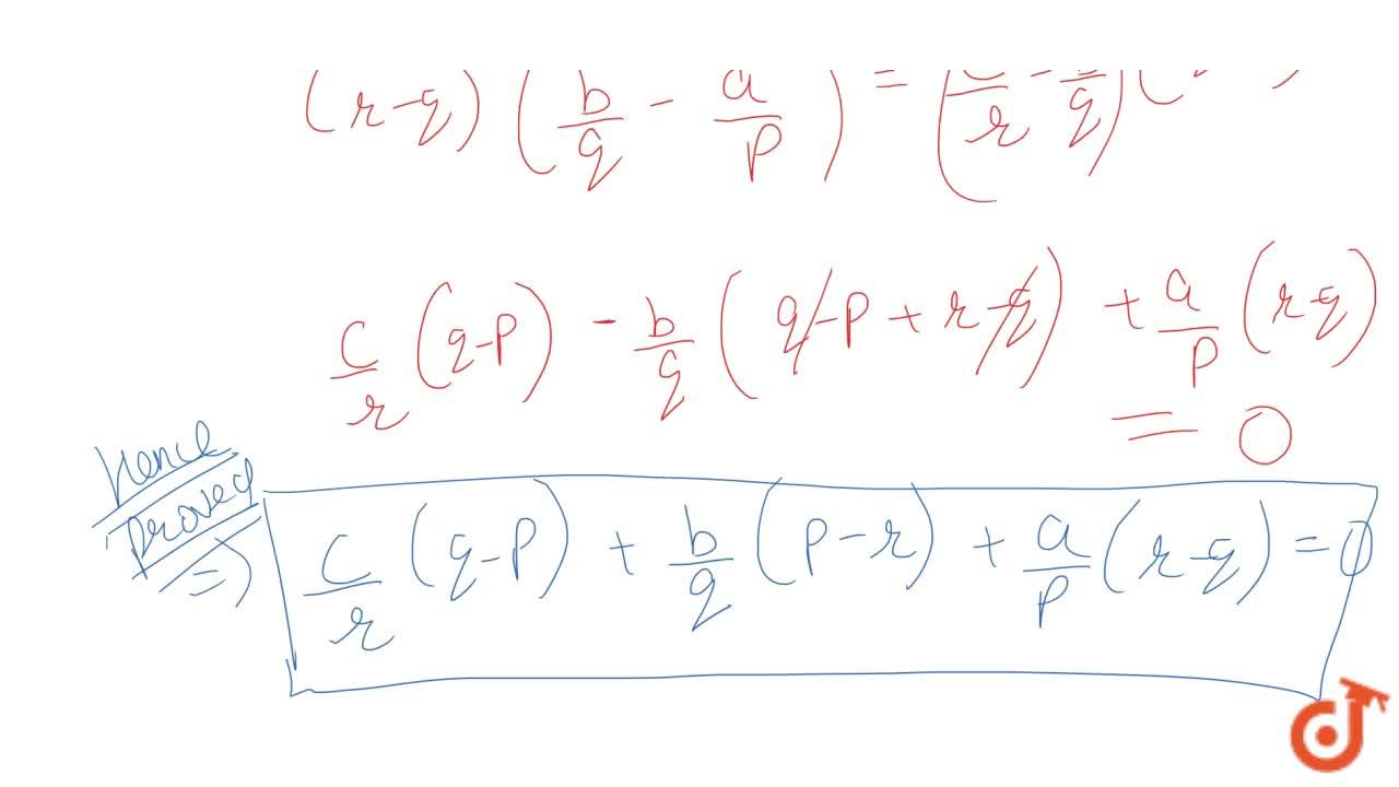 Solution for The sum of first p,q and r terms of an AP are a, b