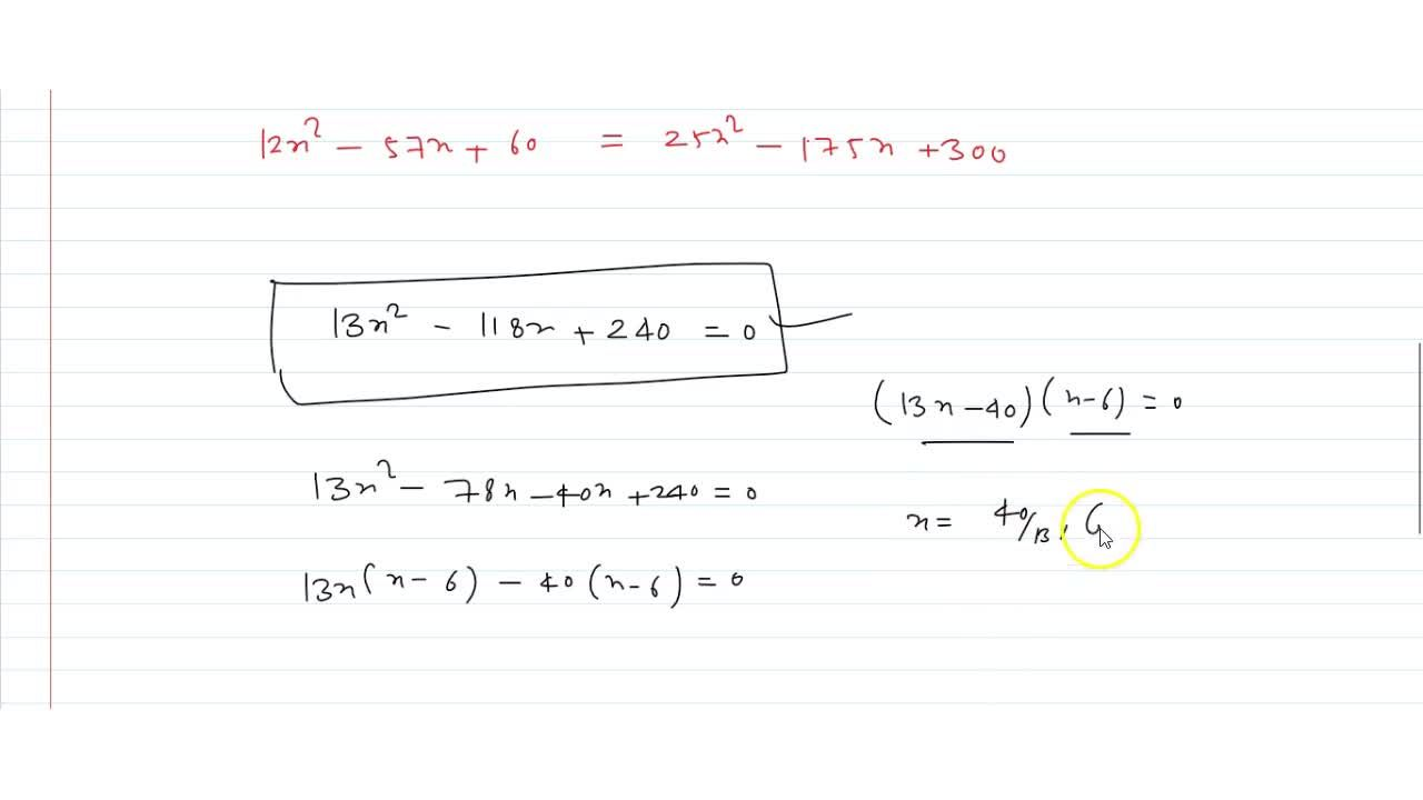 Solution for  Using factorisation method, solve the following q