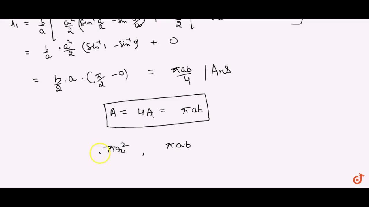 Solution for Find the area of the region bounded by the ellipse