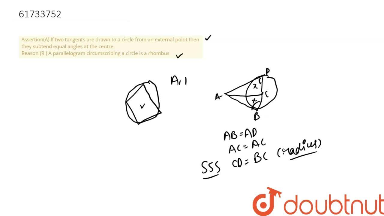 Solution for Assertion(A) If two tangents are drawn to a circle