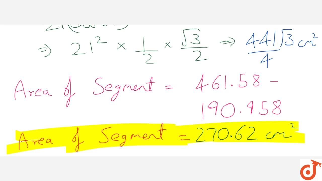 Solution for Find the area of a segment of a circle; given that
