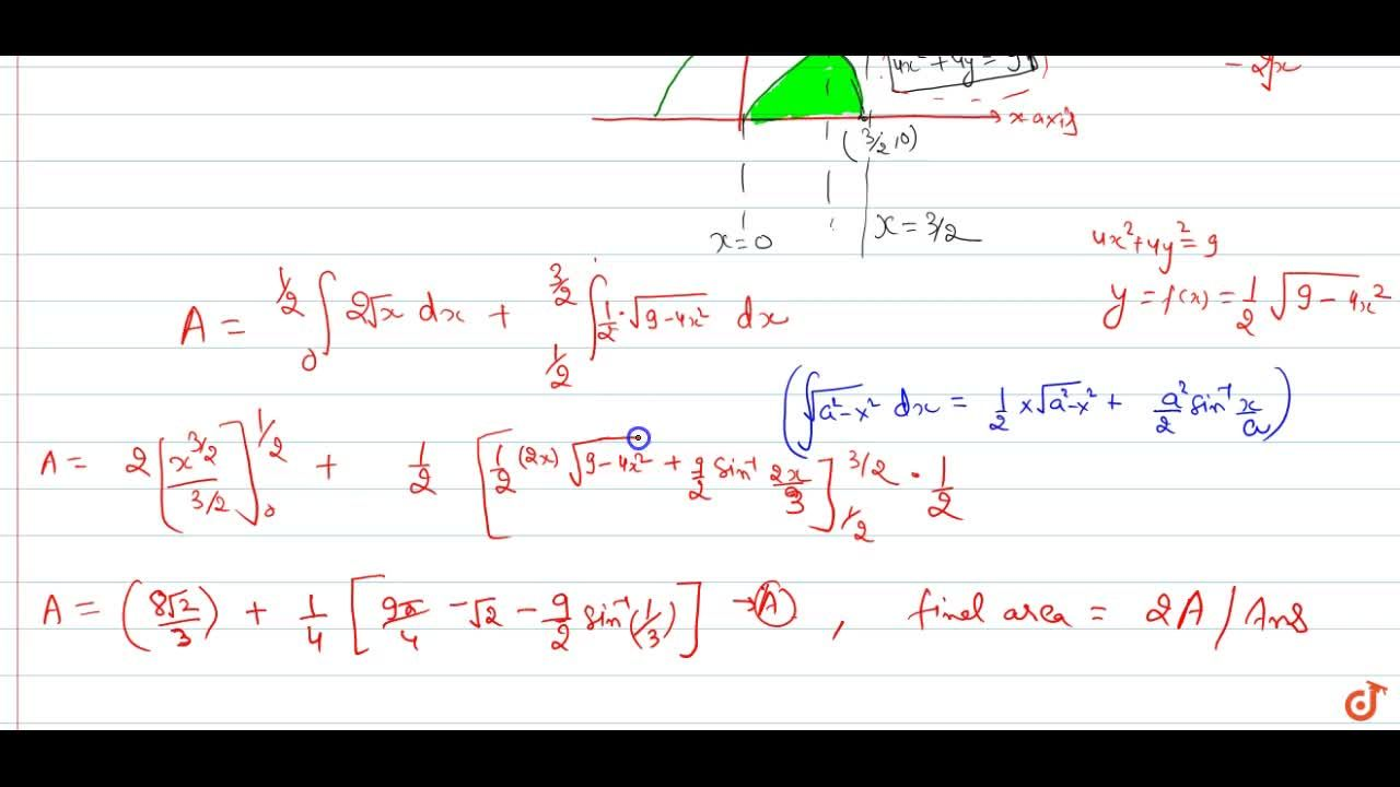 Find the area of the region {(x; y): y^2 <= 4x and 4x^2 + 4y^2 <= 9}.