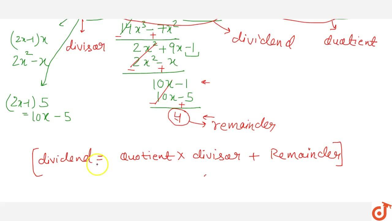 Solution for Division algorithm for polynomials