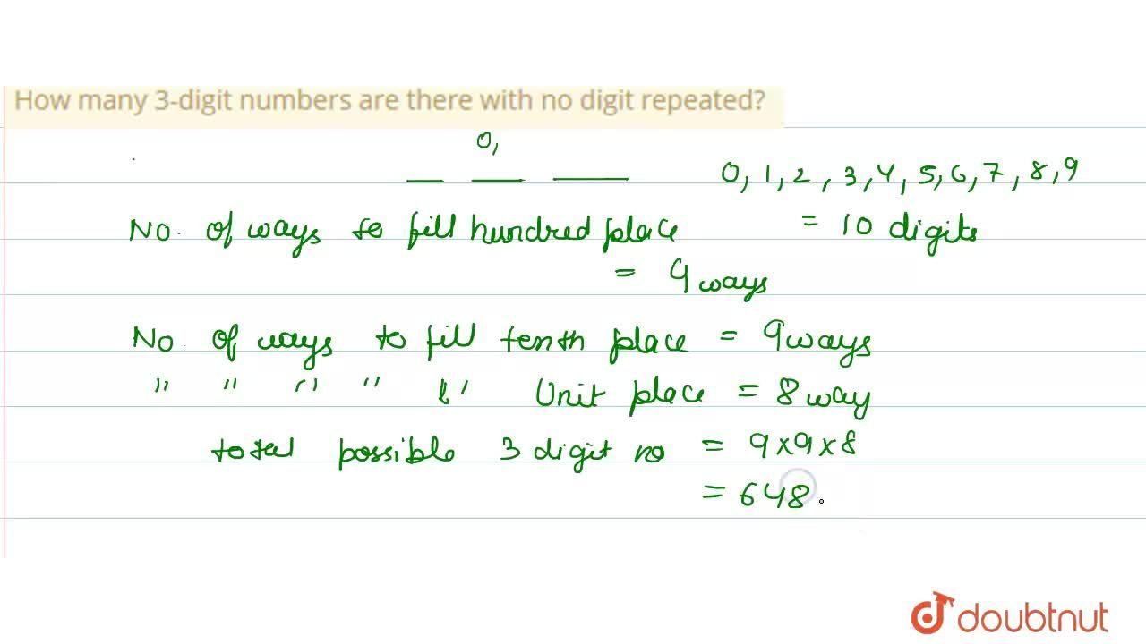 Solution for How many 3-digit numbers are there with no digit r