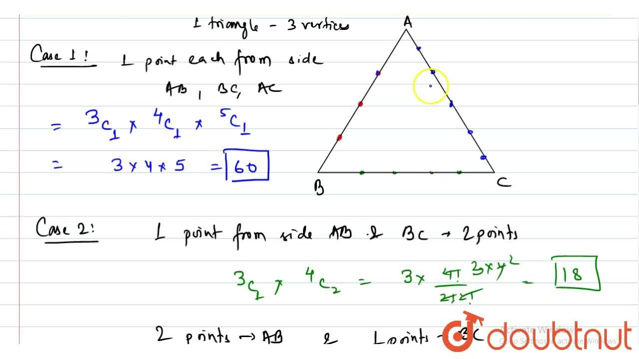 The sides AB, BC, CA of a triangle ABC have 3, 4 and 5 points. Triangles that can be constructed by using these points as vertices, is