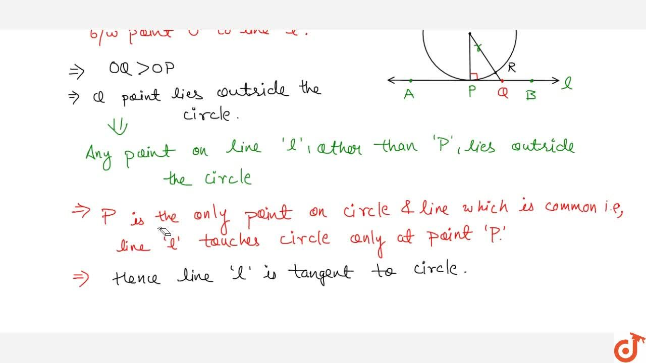 Theorem:A line drawn through the end point of a radius and perpendicular to it is a tangent to the circle.