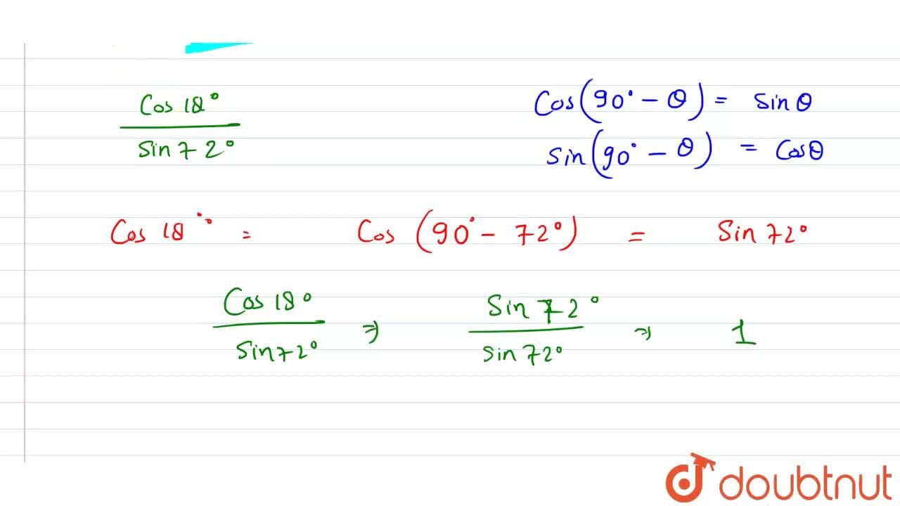 Solution for (cos 18^(@)),(sin 72^(@)) का मान ज्ञात कीजिए ।