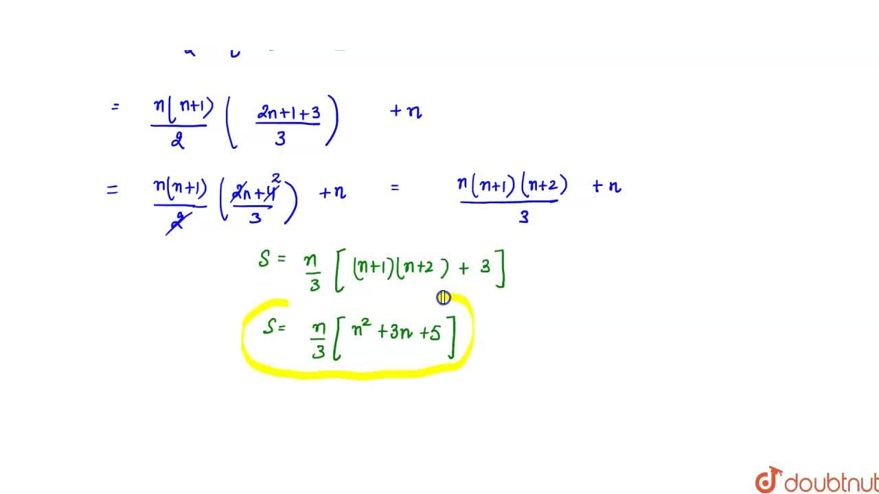 Solution for Find the sum of  the first n terms of the series :