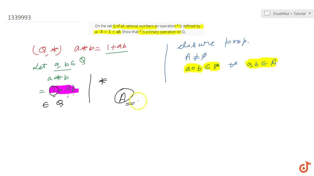 Solution for On the set Q of all rational numbers an operation