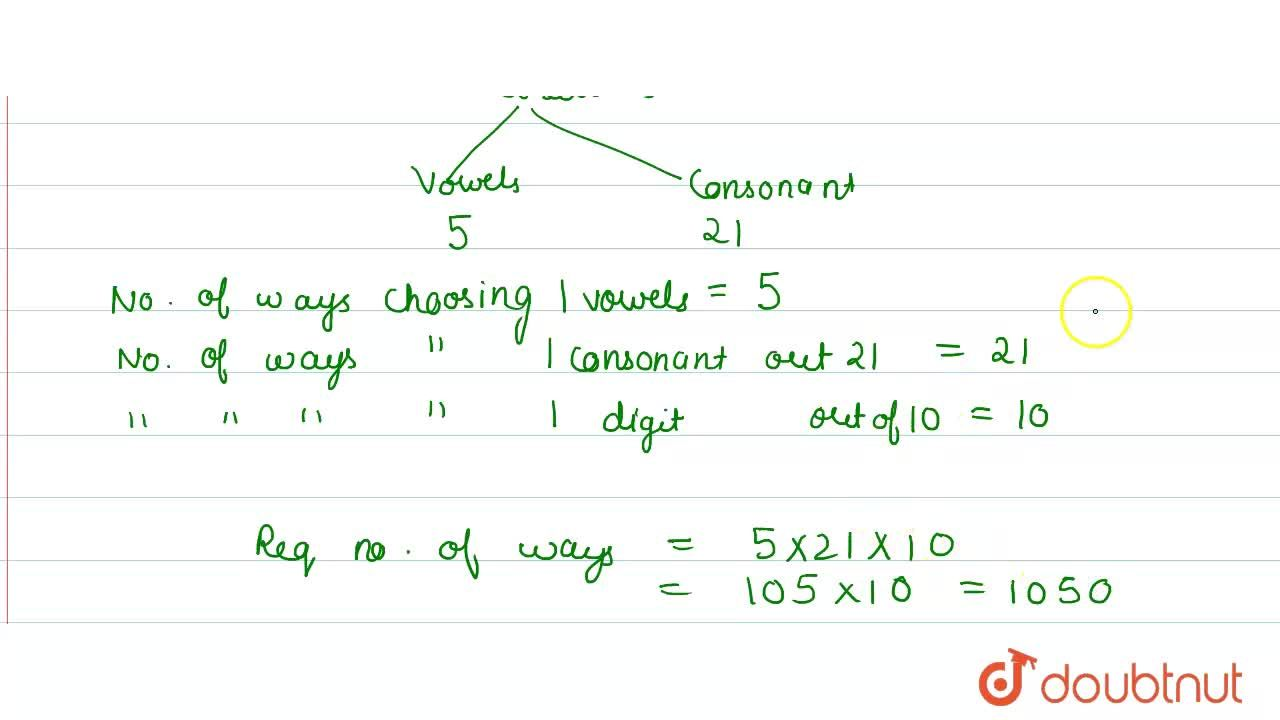 Solution for In how many ways can a vowel, a consonant and a di