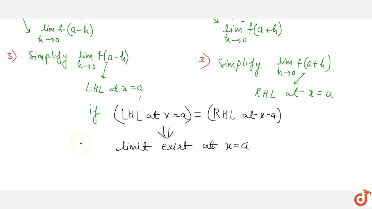 condition of existence of limit evaluation of right hand left hand limit