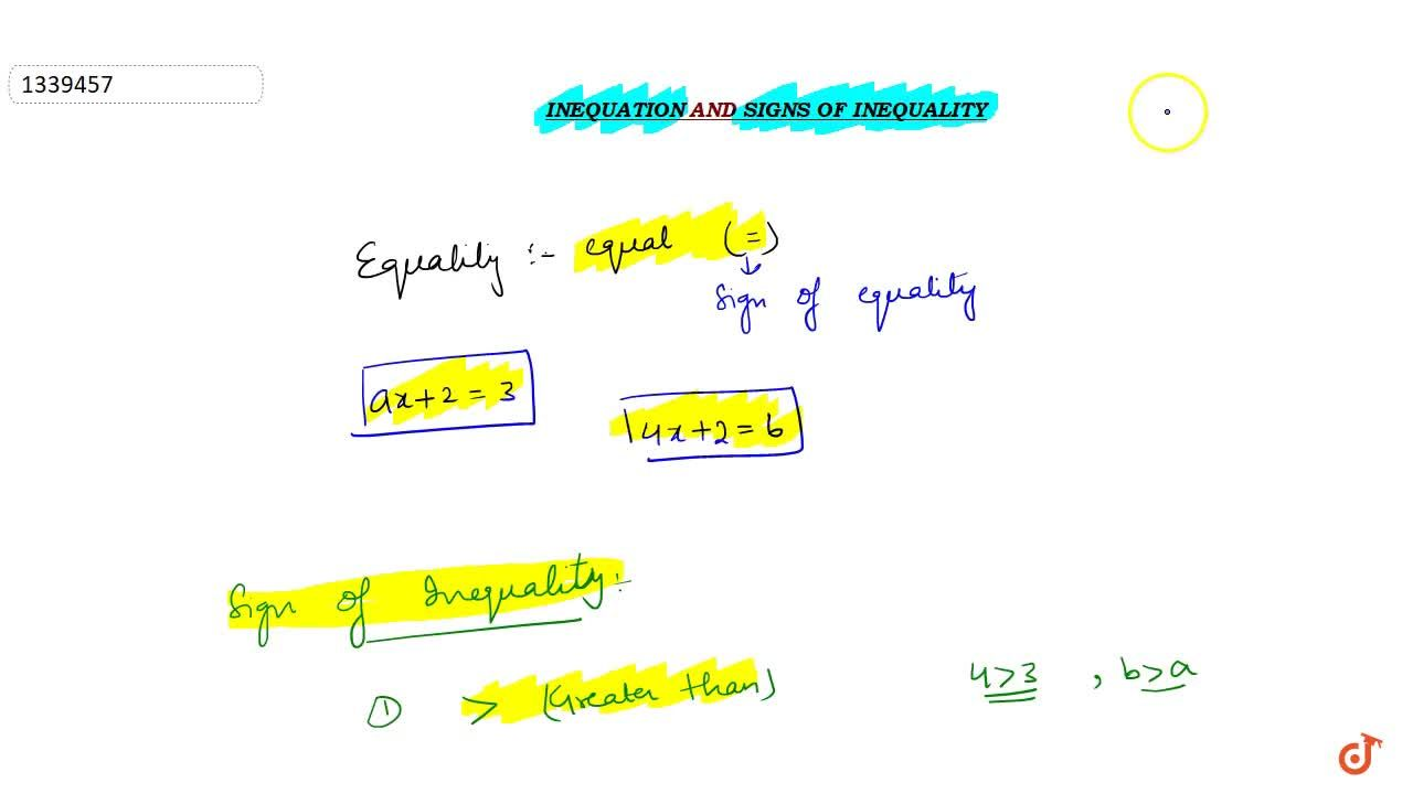 Inequation and signs of inequality
