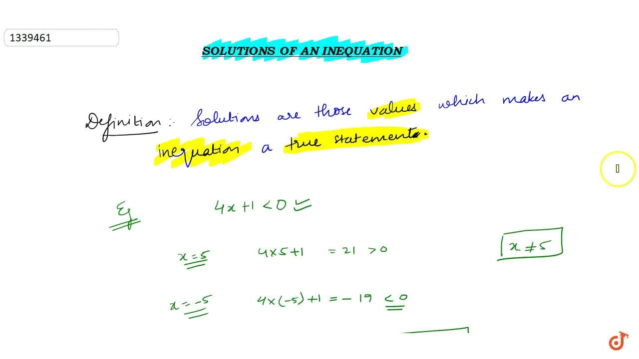 steps and the solution set for the given inequation