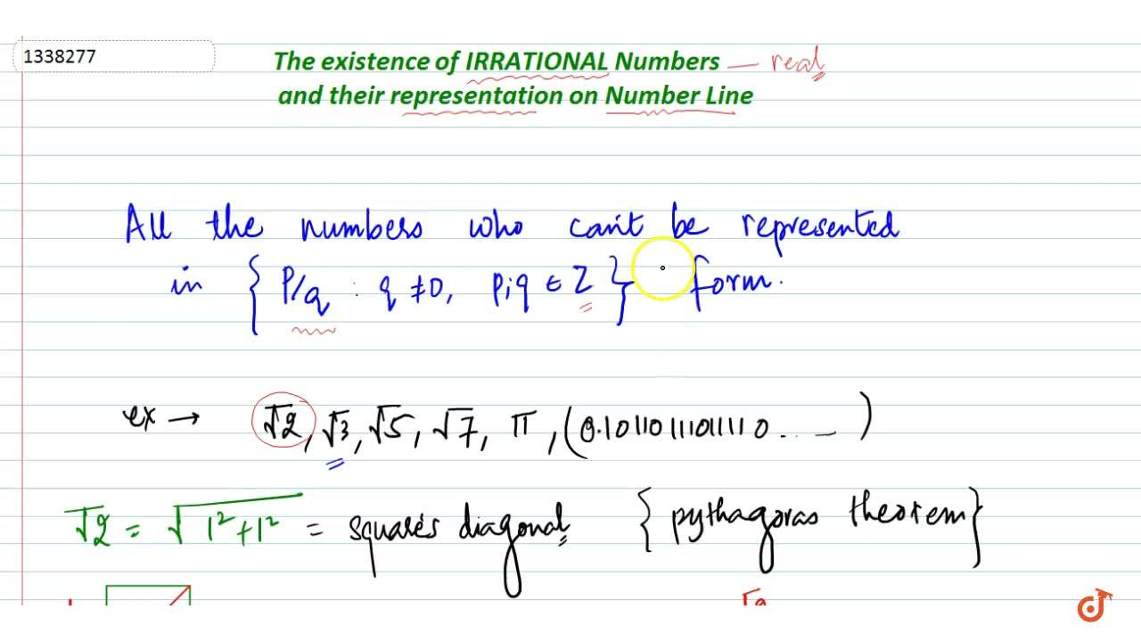 Existence of non rational numbers (irrational no.) and their representation on no. line