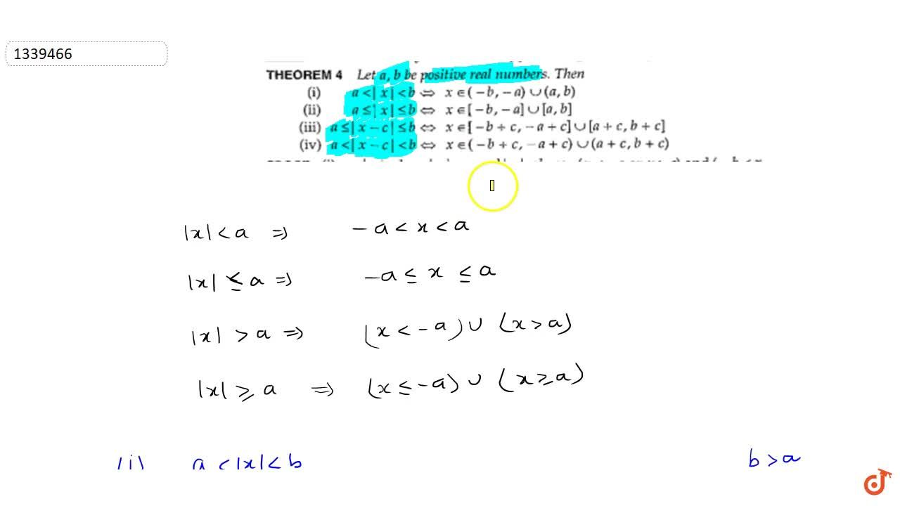 Solution for Let a;b be positive real no. ; alt|x|ltb (ii)