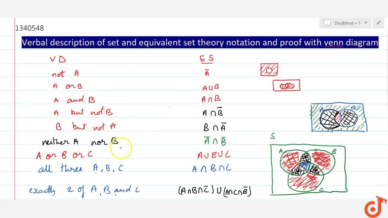 Solution for Verbal description of set and equivalent set theor