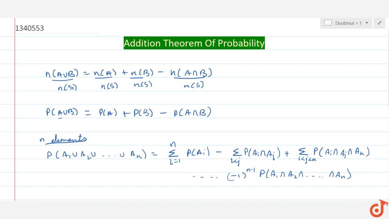 Solution for Addition Theorem Of Probability