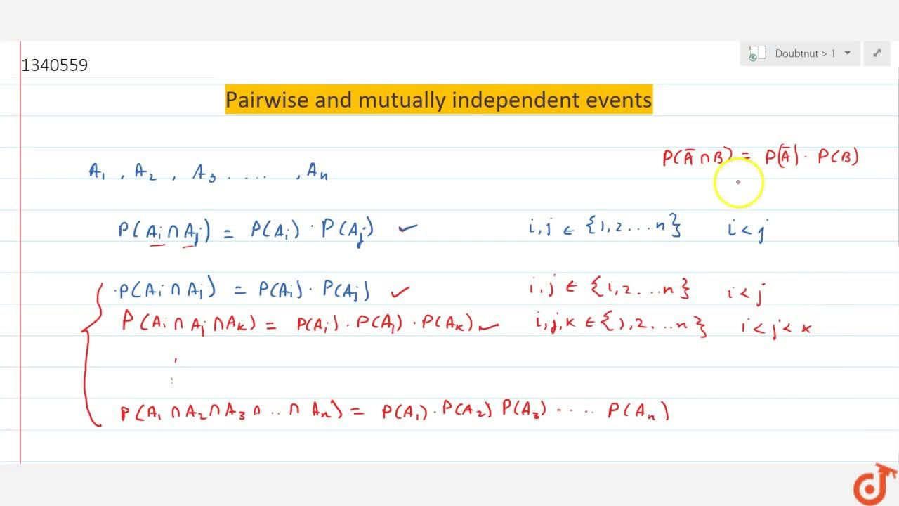 Solution for Pairwise and mutually independent events