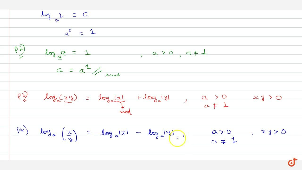 Solution for Properties of logarithmic function Property (1) lo