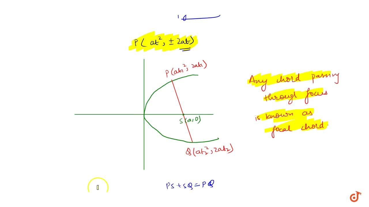 What is focal Chord and If the chord joining P(a(t_1)^2;2at_1) and Q (at_2^2;2at_2) is the focal chord ; then t_1t_2=-1