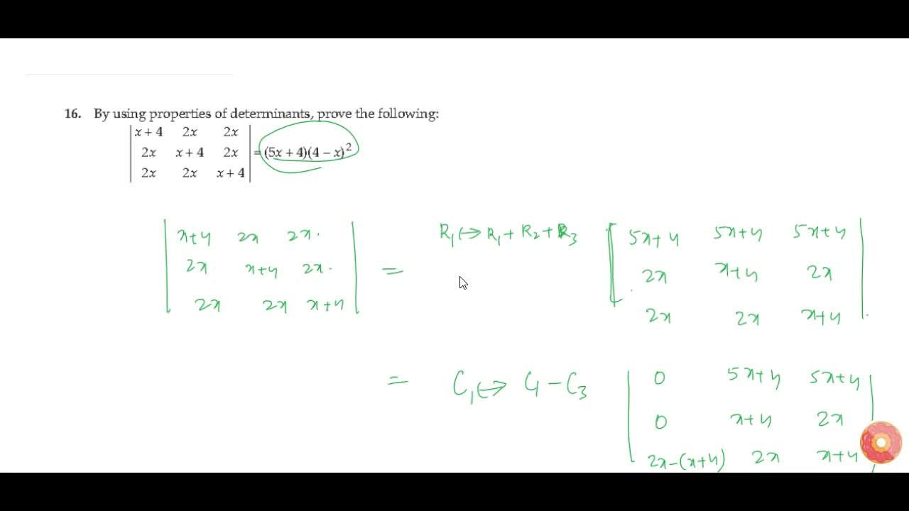 Solution for By using properties of determinants, prove the fol