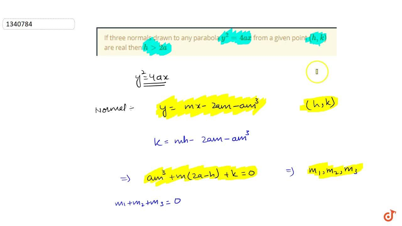 If three normals drawn to any parabola y^2=4ax from a given point (h,k) are real then h>2a