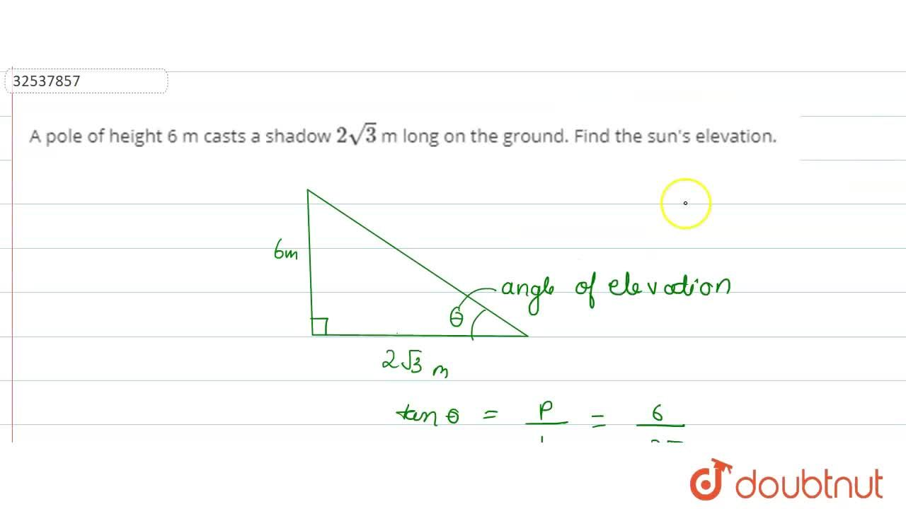 Solution for A pole of height 6 m casts a shadow 2sqrt3 m lon