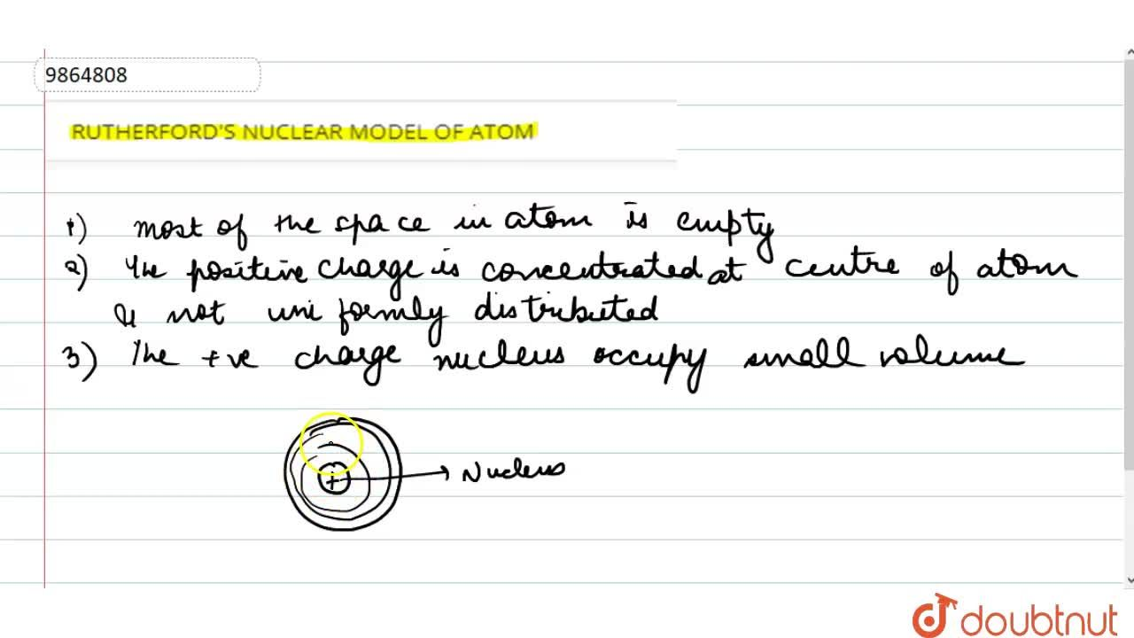 Solution for RUTHERFORD'S NUCLEAR MODEL OF ATOM