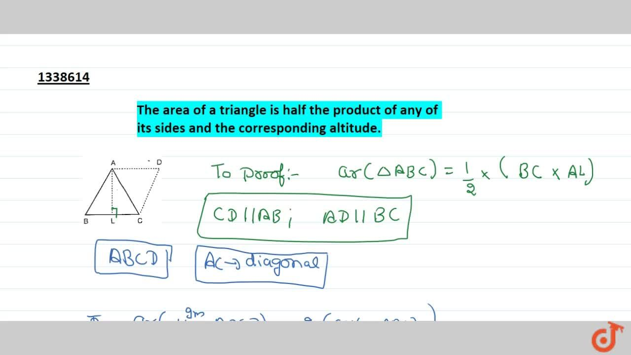 The area of a triangle is half the product of any of its sides and the corresponding altitude.