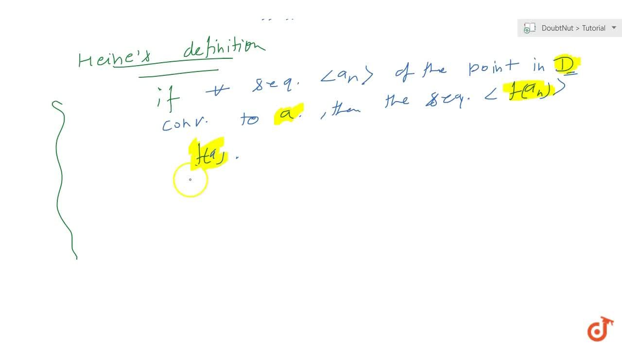 Solution for Definition Condition for continuity