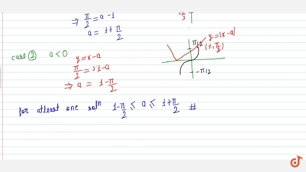 Solution for Find the value of a for which sin^-1x = |x - a|