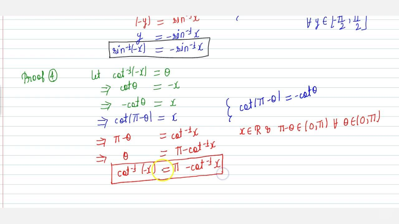 Solution for sin^-1(-x) = -sin^-1(x); cos^-1(-x) = pi - cos^-1