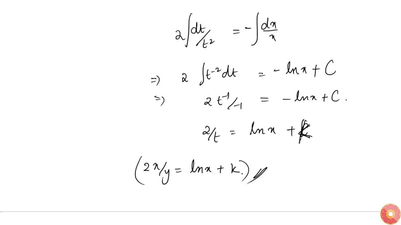 Solve the following differential equation:  2x^2(dy),(dx)-\ 2x y+y^2=0