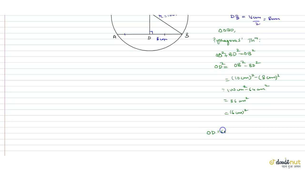 Solution for A chord of length 16 cm is drawn in a circle of ra
