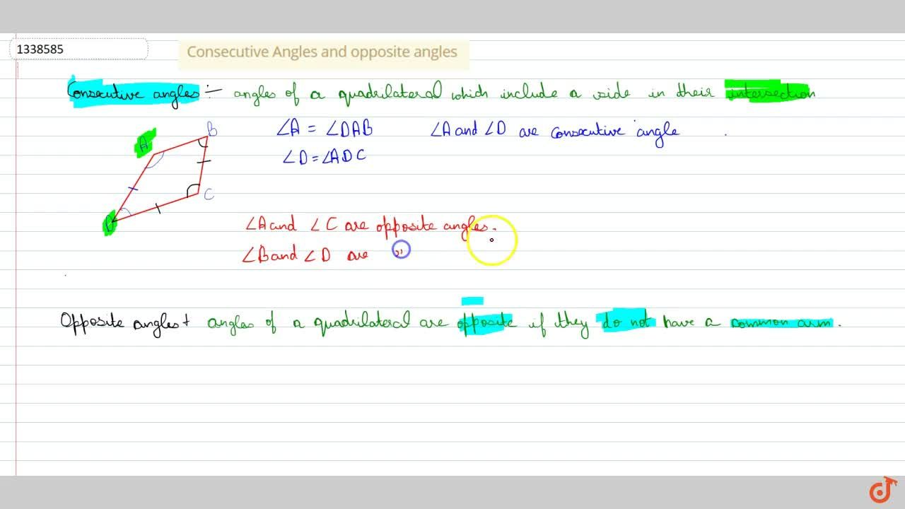 Solution for Consecutive Angles and opposite angles