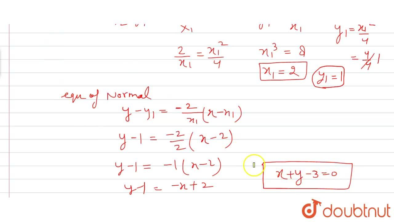 Solution for Find the equation of the normal to the curve x^2=